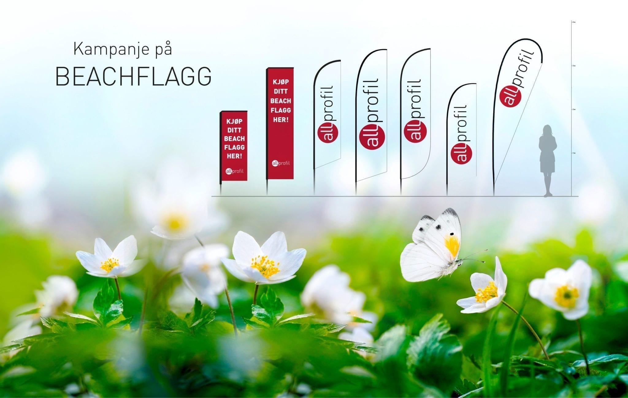 Annonsebilde av beachflagg - Allprofil AS - Trykksaker - Profilering - Klær - Digital skilting - Tjenester - Kontakt