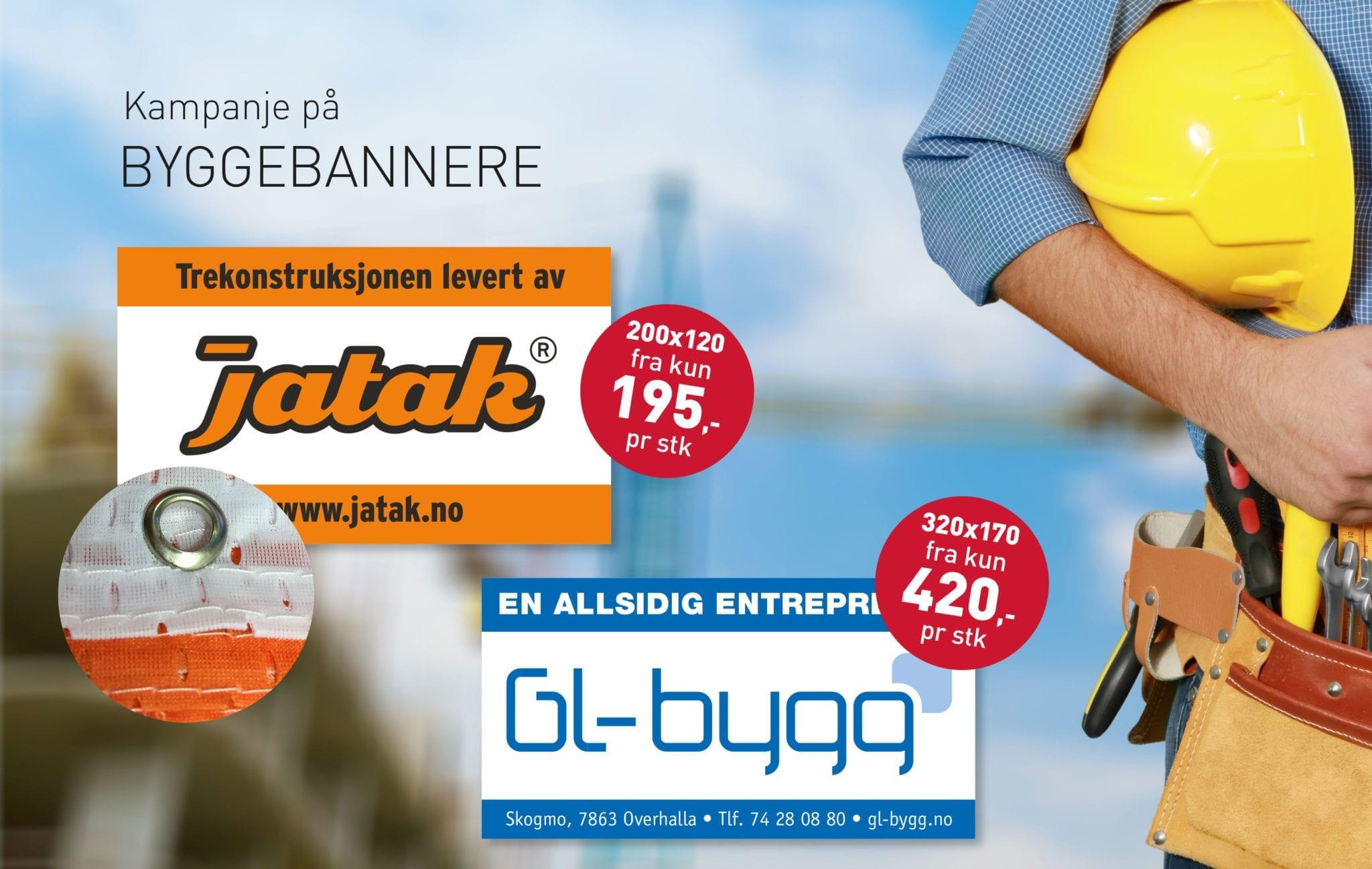 Annonsebilde av byggebannere - Allprofil AS - Trykksaker - Profilering - Klær - Digital skilting - Tjenester - Kontakt