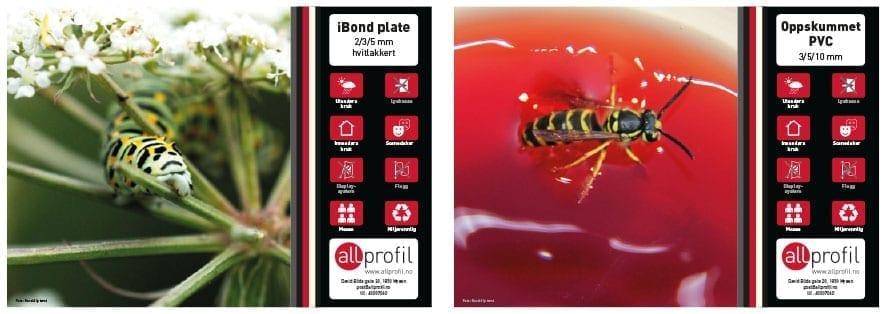 Eksempelbilder av trykk på div materiale - Allprofil AS - Trykksaker - Profilering - Klær - Digital skilting - Tjenester - Kontakt