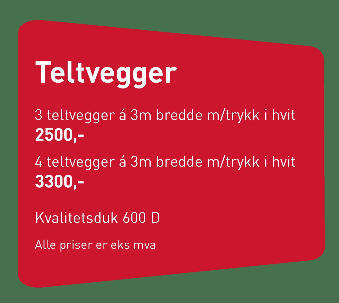 Teltvegger, pris - Allprofil AS - Trykksaker - Profilering - Klær - Digital skilting - Tjenester - Kontakt