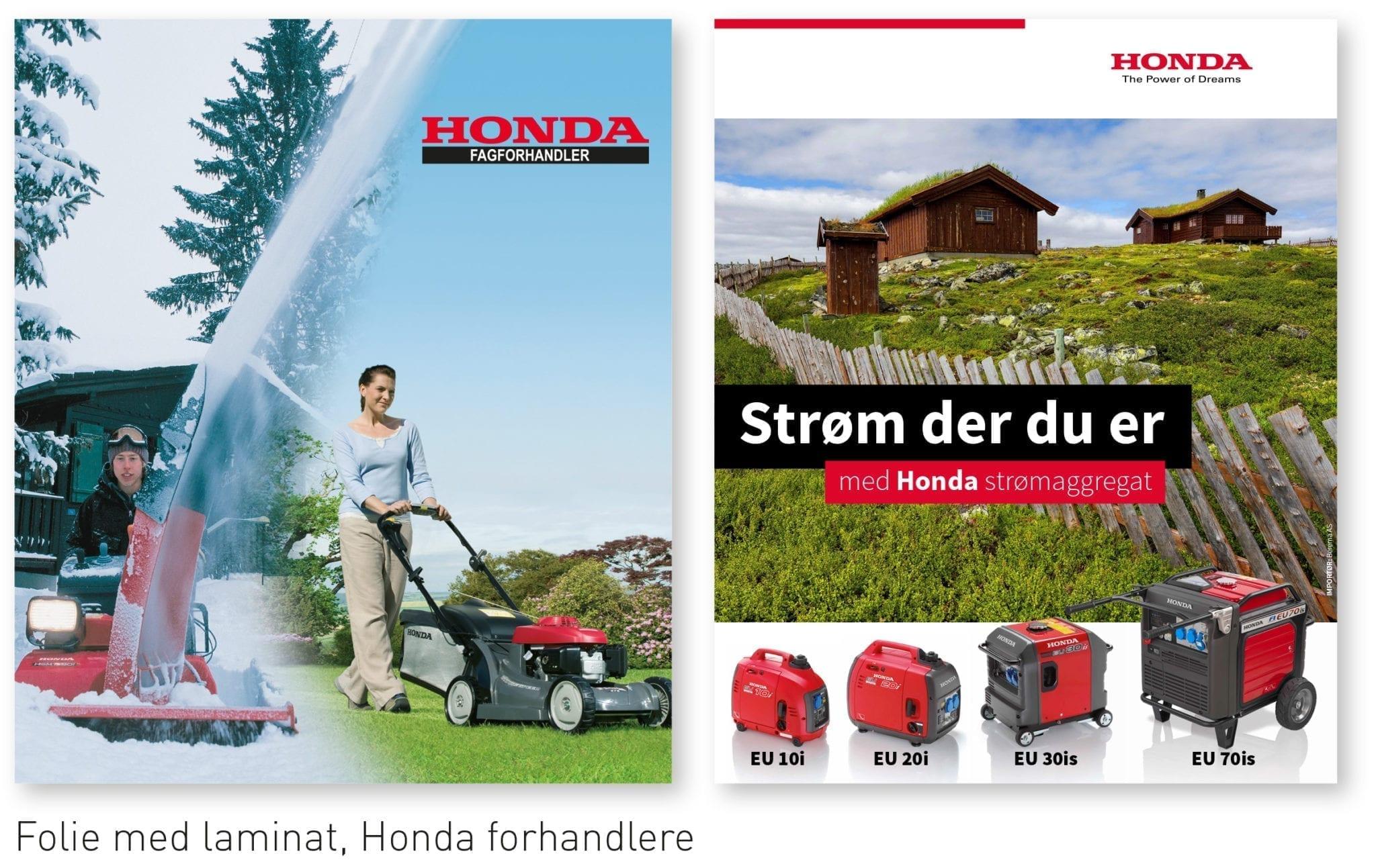 Honda vindusdekor - Allprofil AS - Trykksaker - Profilering - Klær - Digital skilting - Tjenester - Kontakt
